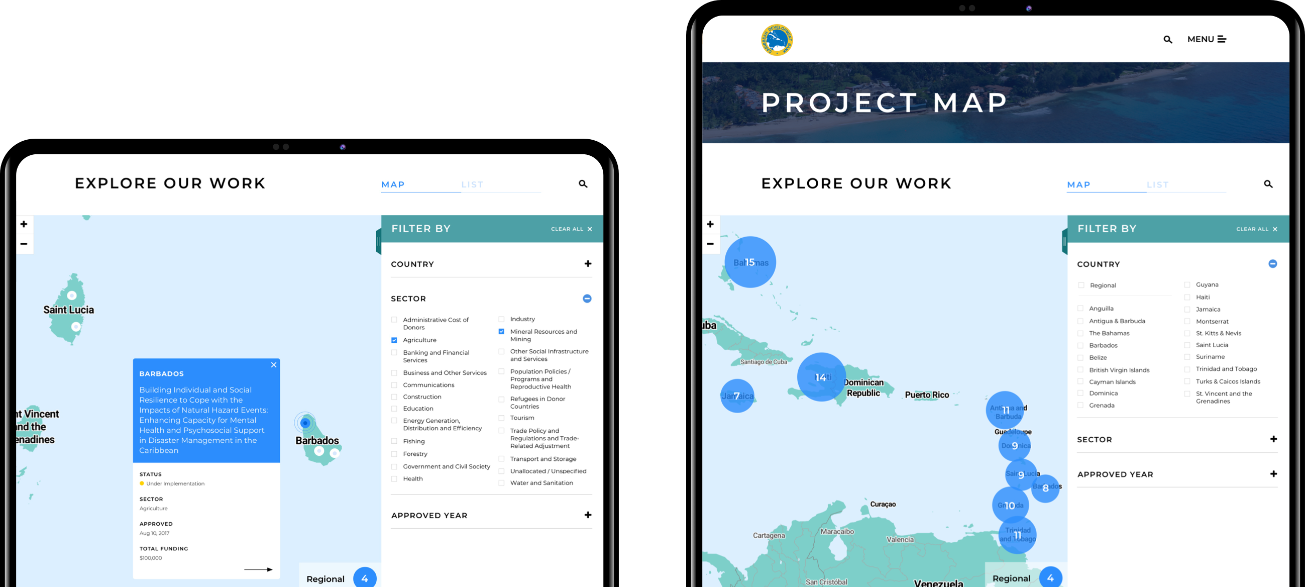 CDB Project Map screens on tablets