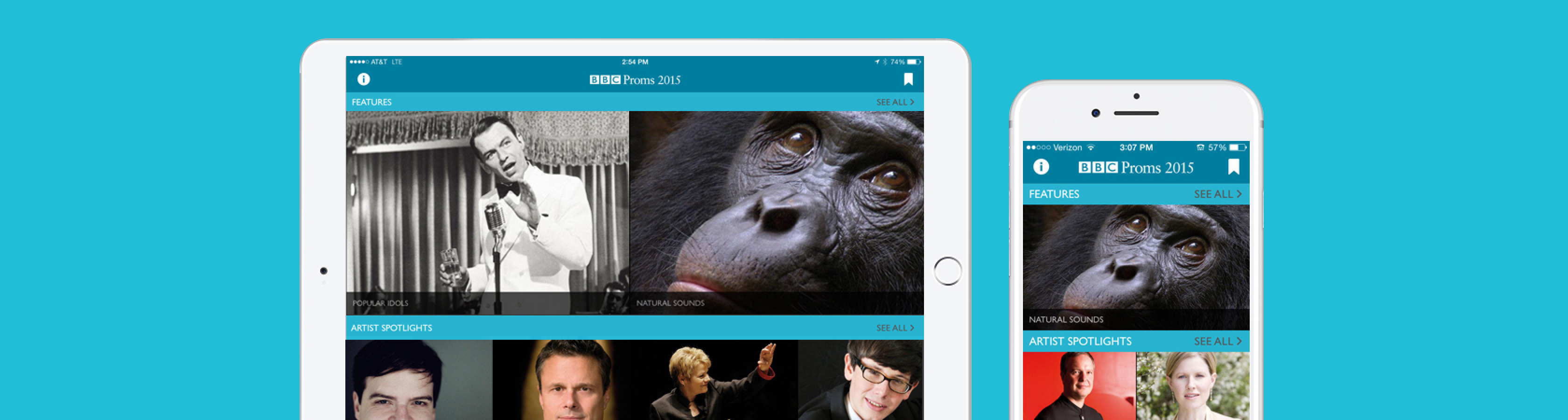 BBC Proms screens on tablet and iPhone